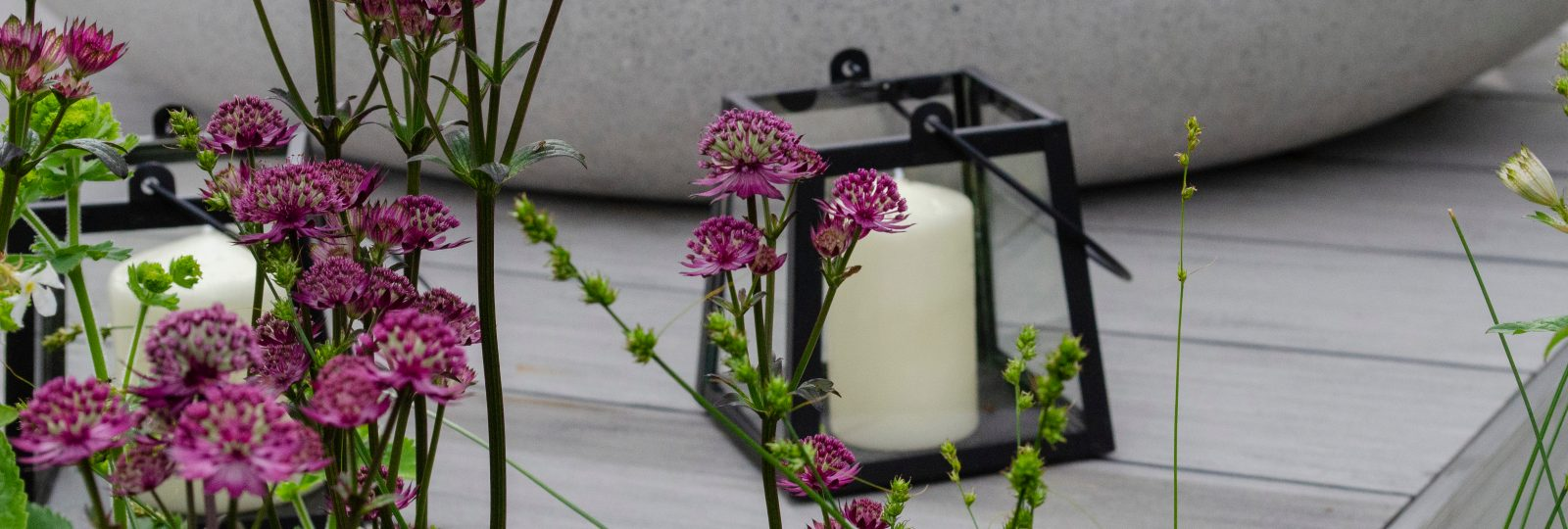 Outdoor candle on decking